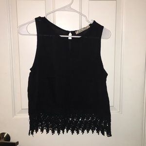 Chloe K black top with lace details